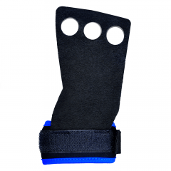 Luvas Grip Crossfit Pull Up Couro Protetor Palmar 3 Furos Nc - Azul