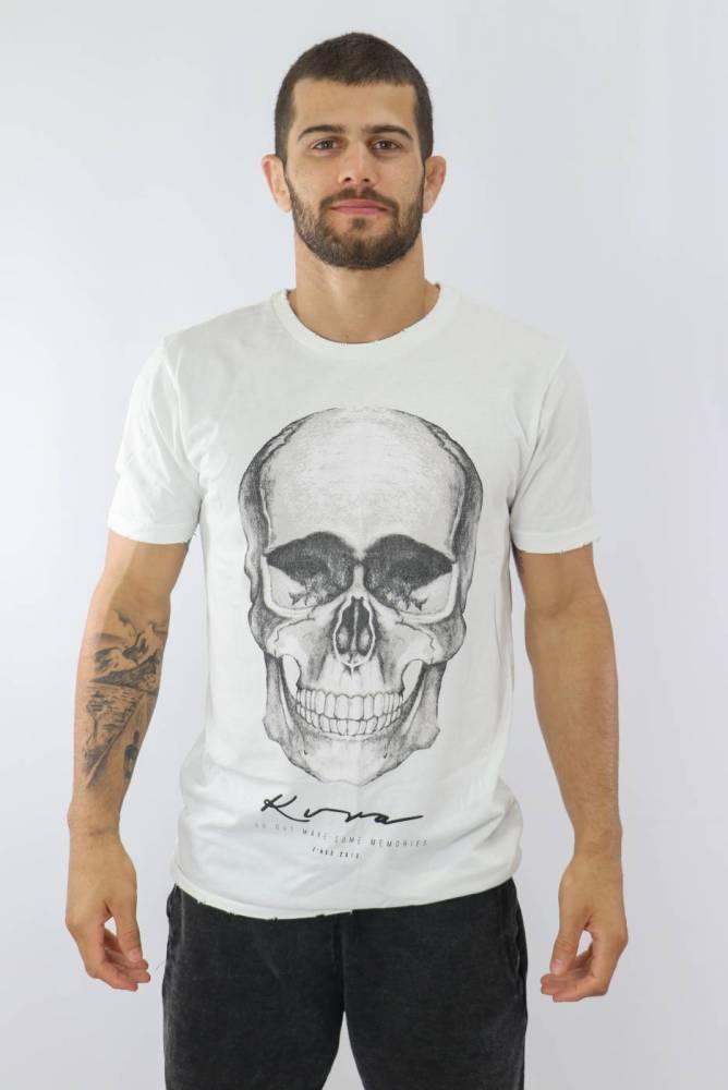 Camiseta Masculina Dark Branco/Preto KVRA